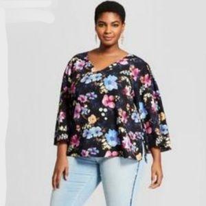 Ava & Viv Floral tunic top shirt blouse 1X 14 16